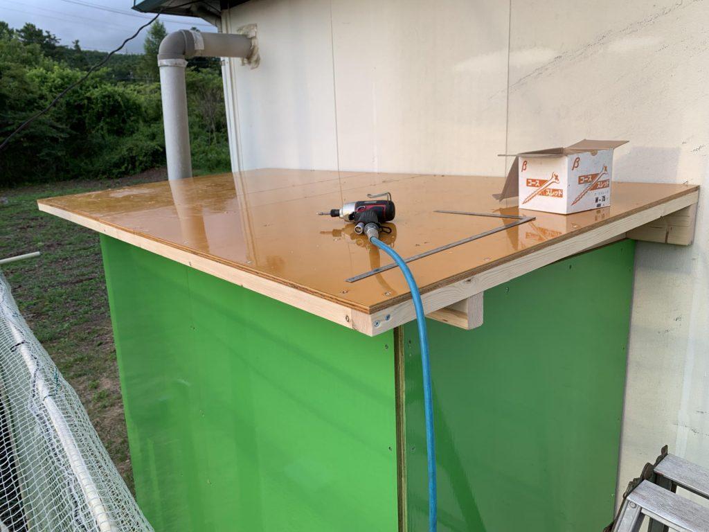 集塵庫に屋根設置