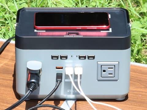 ワイヤレス充電搭載 ポータブル電源300W ST-POBTTY-300W